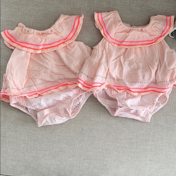 Twin set baby gap pink ruffle romper embroidered